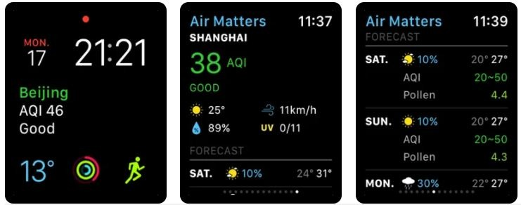Air Matters Health App for Apple Watches
